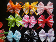 20-100PCS Satin Ribbon Flower   Dot bow Wedding Scrapbooking Sewing Appliques