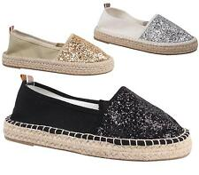 WOMENS LADIES FLAT ESPADRILLE SHOES HOLIDAY GLITTER PUMPS CASUAL COMFORT SIZES