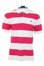 Fred Perry Striped Polo T-Shirt S/S White/Pink