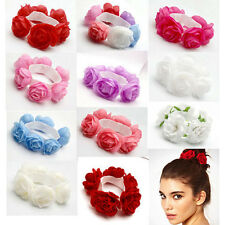 1Pc Flower Bun Garland Floral Head Knot Hair Top Scrunchie Band Elastic Bridal