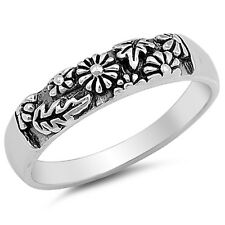 Beautiful Flowers Band .925 Sterling Silver Ring Sizes 2-10