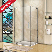 Frameless Pivot Shower Enclosure Glass Screen Door Cubicle Side Panel Stone Tray