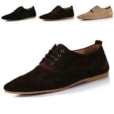 fashion mens flats Suede Leather Lace Up Casual shoes sneakers loafers plus size