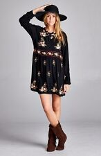 PLUS SIZE BLACK FLORAL BOHO GYPSY BABYDOLL BLOUSON SHIRT TUNIC DRESS 1X 2X 3X