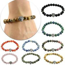 Unisex Fashion Tibetan Silver Lion Head Stone Beads Trendy Charm Bracelet Bangle