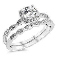 Sterling Silver CZ Halo Vintage Style Round Engagement Ring Wedding Set Sz 4-10