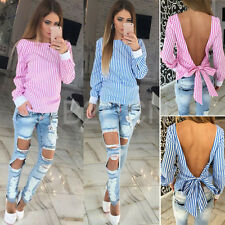 Fashion Women Sexy Blouse Backless Striped Long Sleeve Loose Casual T Shirt Tops