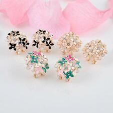 Fashion 1 pair Women Elegant Clover Flower Pearl Rhinestone Ear Stud Earrings J