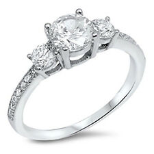 Sterling Silver 925 Women's Clear CZ Round 3 Stone Engagement Ring Size 4-10