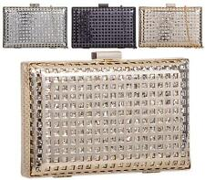 WOMENS HARD CASE BOX CLUTCH PARTY DIAMANTE EVENING DRESSY OCCASION CLUTCH BAG