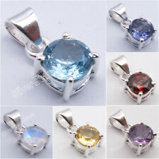 925 Silver BLUE TOPAZ, AMETHYST & More Gemstone Choices 4-Prong Setting Pendant