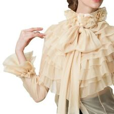 Womens Puff Ladies Princess Flower High Neck Blouse Shrit Chic flare sleeve Tops