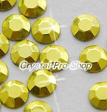 Yellow Iron On Faceted Hot Fix Rhinestud Aluminium Craft Beads 5 , 4 , 3 , 2 mm
