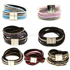 Jewelry Artificial Leather Magnetic Buckle Style Charm Bangle Bracelet