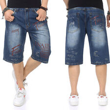 Plus Size Mens Jeans Shorts Hip Hop Capri Pants Loose Prints Distressed W30-W46