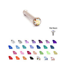 Surgical Steel Nose Bone Stud Ring 2mm Gem 18 Gauge 18G