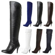 Ladies High Heels Suede / PU Leather Shoes Vintage Womens thigh length Boots Sz