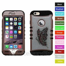 For iPhone 6 Butterfly Glitter Rhinestones Bling Hybrid Protective Case Cover