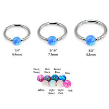 316L Surgical Steel Captive Bead Nose Ring Septum Hoop Opal Ball 18G 20G 16G