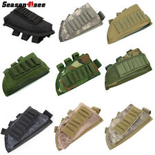 1PC Tactical Rifle Stock Ammo Hunting Pouch Holder Bag With Cheek Leather Pad UK