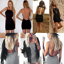 Women Summer Sexy Bandage Bodycon Backless Evening Party Cocktail Mini Dress NEW