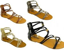 Ladies Womens Flat Gladiator Ankle Boot Flip Flop Summer Sandals Shoes Strappy
