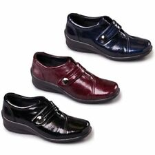 Padders SIMONE Womens Ladies Soft Patent Leather Velcro E/EE Dual Wide Fit Shoes