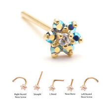 Yellow Gold Nose Ring Stud Screw Bone L Bend Blue Aurora Flower 18G 20G 22G