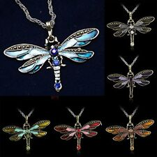 Retro Bronze Crystal Dragonfly Pandent Necklace Sweater Long Chain Gift Jewelry