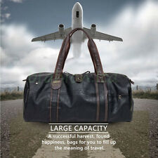 MENS GENTS LARGE FAUX PU LEATHER HOLDALL TRAVEL GYM SPORTS FLIGHT OVERNIGHT BAG