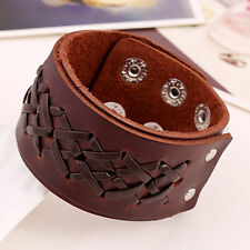 Wide Brown Leather Dual Strap Stitched Wide Cuff Bracelet Wristband for Men Uni
