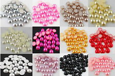 Wholesale 100 pcs 10 mm Half Pearl Beads Flat Back Scrapbook 14 kinds of color