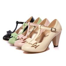New Ladies' Shoes Synthetic Leather Block High Heels Strappy Pumps US All Size
