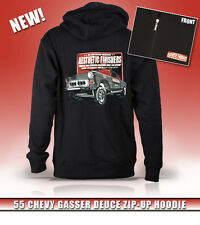Aesthetic Finishers 1955 55 Chevy Gasser Deuce Hot Rod Zip-up Hooded Sweatshirt