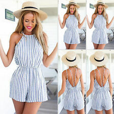 Womens Striped Spaghetti Strap Jumpsuits Rompers Celeb Overalls Short Playsuits