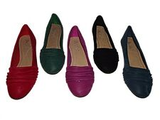 NEW LADIES GIRLS RUCHED DESIGN FAUX SUEDE DOLLY SHOES BALLERINAS FLATS SZ 3 - 8