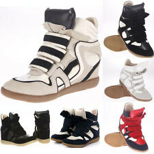 Annakestle Womens Velcro Strap High-Top Sneakers Suede Wedge Ankle Boots Shoes