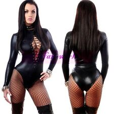 Plus Size Lingerie Long Sleeves Wet Look PVC Lace up Front Catsuit Teddy Fetish