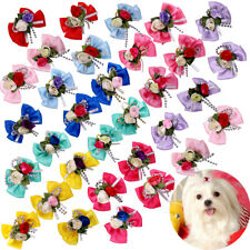 Choose QTY Dog Hair Bows Solid Bows Flowers Dog Bows Pet Grooming bows Topknot