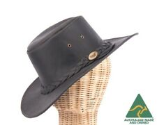 Australian bush buffalo leather black hat. Real buffalo leather. Water resistant