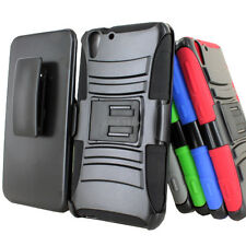 For HTC Desire EYE Color Rugged Hybrid Hard Case Cover Belt Clip Holster w/Stand