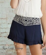 NWT Boutique Entro Embroidered Waist Ruffle Shorts - Small, Medium & Large