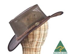 Brown Barmah Kangaro Leather Australian Cooler Hat Made in Australia. Crushable