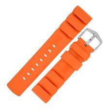 Hirsch EXTREME Natural Caoutchouc Rubber Dive Watch Strap and Buckle in ORANGE