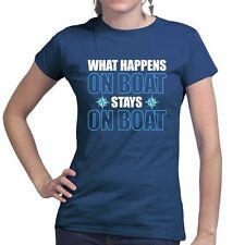 What Happens On Boat Sailing Ship Nautical Anchor Ladies T shirt Tee Top T-shirt