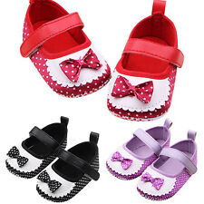 Infant Girls Baby Polka Dots Trainers Shoes Soft Sole Bowknot Prewalker Nicely