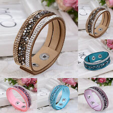 Punk Style Bling Crystal Rhinestone Leather Wrap Cuff Wristband Bracelet Bangle
