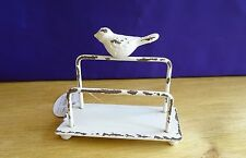 Shabby Chic Metal Bird Design Letter Rack Distressed Cream