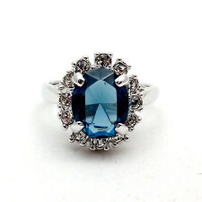 Fashion Jewelry - 18K White Gold Plated Blue CZ Ring (FR113)