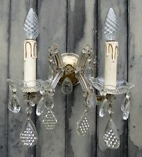 Fab Pair Vintage French Marie Therese Wall Lights with Amazing Faceted Crystals